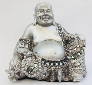 13cm Happy Buddha Silver Flora Art Mosaic LP43343